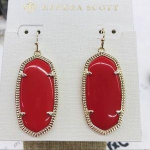 Kendra Scott Elle Bright Red Gold tone earrings